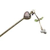 Tamarusan Hair Pin Heart Peridot Hair Accessory Metal Handmade