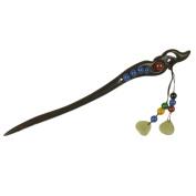 FANTAC CRAFTED Women Girl Antique Ebony Wood Handmade Natural Agate Grey Jade Pin Hair Stick Hairpin Gift