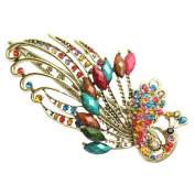 Happy Hours - Vintage Bohemia Style Rhinestone Peacock Hairpin / Unique Modelling Diamanting Hair Fork / Animal Colourful Alloy Hair Clamp / Exquisite Elegant Art Hair Decoration