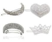 4pcs/set Full Crystal Rhinestone Hair Barrettes Pin Clip - Bridal Hair Piece - Bridal Wedding Hair Accessories