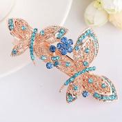 Hairpin,Butterfly Flowers Plated Alloy Hair-pin Diamond Dangle Kanzashi Hair Pin,Blue