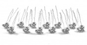 12 Pieces Clear Colour Rhinestone Heart Design Hair Pins With Silver Colour Pin