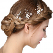 Meiysh Rhinestone Bridal Wedding Crystal Hair Pins Bridal Prom Clips Pack of 3