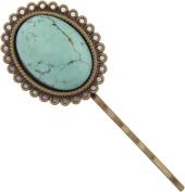 Hair Pin, Turquoise Gemstone Antique Bronze Hair Pin -7cm