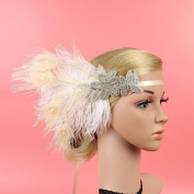 Meiliy Vintage Peacock Gatsby Headband with Adjustable Ribbon Flapper Feather Headband 1920s Headpiece Hair Accessories