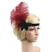 Meiliy Wine Red Feather Flapper Headband 1920s Vintage Headpiece Hair Accessories