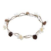 Bohemia Flower Crown Flower Headband - AWAYTR Pinecone Cream White Flower Garland Wedding Beach Hair Accessories