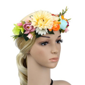 Meiliy Women Handmade Flower Garland Headband Flower Wreath Crown Floral Wedding Garland for Wedding Festivals
