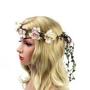 Meiliy Women Flower Garland Headband Flower Wreath Crown Floral Wedding Garland for Wedding Festivals