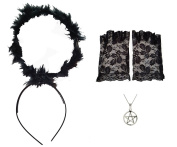 Black Halo + Lace Fingerless Gloves + Pentagram Necklace Gothic Witch