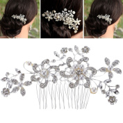 VANKER Vintage Flora Simulated Pearl Crystal Bridal Hair Comb Silver for Wedding