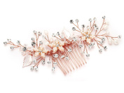 Mariell Handmade Wedding Hair Comb Headpiece - Siverly Rose Gold Leaves, Freshwater Pearls & Crystals
