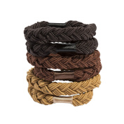 Glamour Style Set of 6 Rubber Bands Braided Thick No Metal Large Formed