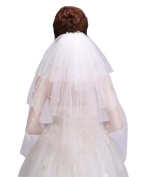 Short Double Layer Lace Wedding Bridal Veil Wedding Accessory with Pearl