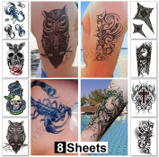 Temporary Tattoos for Guys for Men - Fake Tattoo Tough Macho Biker Tattoos Fashion Designs for Arms Shoulders Chest & Back - Boys Tattoos Body Art Tattoo Stickers Waterproof Transfers 8 Sheets