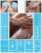 White Temporary Tattoos for Women Teens Girls - 9 Sheets White Lace Fake Tattoos - Tattoo Designs Jewellery Tattoos - 100+ White Flash Fake Waterproof Tattoo Stickers