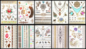 JZK® 10 Sheets Assorted Metallic Flash Temporary Jewellery Tattoos, Waterproof