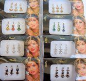 India Crafts ª 8 Combo Bindi Packs Silver/Gold/Black/Multicoloured Face Jewels Bollywood tika