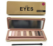 Yurily 12 Colours Nudes Eyeshadow Palette -- Metal Tin Package with Fitted Mirror and Makeup Brush