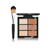 JasCherry Pro 1 Pcs Make Up Brush #2 + 6 Colours Cream Concealer Camouflage Makeup Palette Contouring Kit for Salon and Daily Use