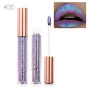 TOPBeauty Fashion Women Glitter Lip Makeup Waterproof Lip Gloss Nude Glitter Shimmer Focallure Lipstick Lip Kit #35