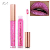 TOPBeauty Fashion Women Glitter Lip Makeup Waterproof Lip Gloss Nude Glitter Shimmer Focallure Lipstick Lip Kit #34