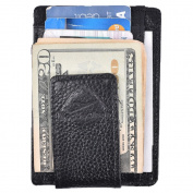Hopsooken Genuine Leather Money Clip Wallet RFID Thin Slim Wallet Strong Magnet