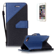 iPhone 7 12cm Case [with Free Screen Protector},Funyye Stylish Lanyard Strap Scratch Resistant Premium Magnetic Detachable Superior PU Leather Wallet different colour splicing Style Cover Case for iPhone 7 12cm -Royal blue