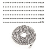 BronaGrand 10pcs 2.4mm Nickel Beaded Ball Chain Necklaces Pull Chain Extension Jewellery Findings With Connector,40 Inch