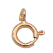 SR BGSJ Wholesale Jewellery Necklace Making Craft 925 Sterling Rose Gold Plated Spring Ring Clasp 5mm 5 Pcs