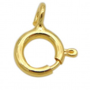 SR BGSJ Wholesale Jewellery Necklace Making Craft 925 Sterling Yellow Gold Plated Spring Ring Clasp 5mm 5 Pcs