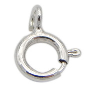 SR BGSJ Wholesale Jewellery Making Craft 925 Sterling White Gold Plated Spring Ring Clasp 5mm 5 Pcs