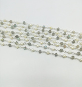 New Collection of 3m Natural Labradorite With Pearl Rosary Link Chain,3-4 mm Faceted & Cabochon Silver Plated wire wrapped Rosary Chain By GEM MART U.S.A.