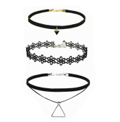 3 Pieces Black Choker Chain Necklaces Set-Velvet Classic Gothic Tattoo Lace Choker Set Necklaces for Women and Girls