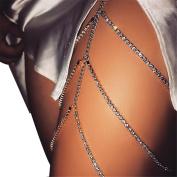 Women Sexy Bohemia Rhinestones Multi Layers Leg Thigh Chain Shiny Jewellery Beach Body Chain