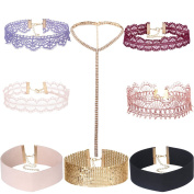 Tpocean 8 Pieces Pink Gothic Tattoo Lace Choker Necklace Set Thin Wide Rhinestone Crystal Diamond Bling Chokers Necklaces for Women Teen Girls