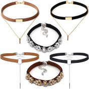 Tpocean 6 Pieces Rhinestone Crystal Diamond Choker Necklace Set Black Brown Velvet Gold Chain Chokers Necklaces for Women Teen Girls