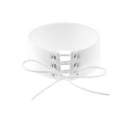 Tpocean White Thick Velvet Belt Collar Choker Necklace Gothic Harness Choker Necklace Set for Women Girls
