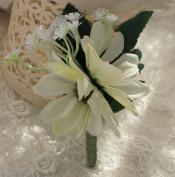 KUKI SHOP 2PCS Set 10cm Pure Handmade Romantic Flower Wedding Boutonniere Flower Bridegroom Best man Boutonniere Prom Boutonniere Party Flower Boutonniere, Ivory