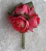 KUKI SHOP 2PCS Set 12cm Pure Handmade Romantic Flower Wedding Boutonniere Flower Bridegroom Best man Boutonniere Prom Boutonniere Party Flower Boutonniere, Red