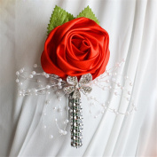 USIX 2pc Pack-Handmade Men's Lapel Satin Flower Pearl Decor Boutonniere Pin for Suit Wedding Groom Groomsmen Brooch Rose Boutonniere