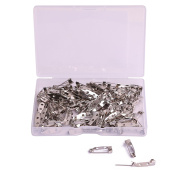 Shapenty 120PCS Small Metal Double Hole DIY Craft Brooch ID Name Badge Safety Catch Locking Pins Back Clasp Blank Pin Backing for Jewellery Findings