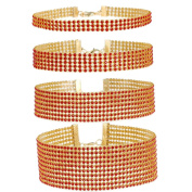 Tpocean Red Gold Rhinestone Crystal Choker Necklace Set Women's Diamond Collar Necklace with 3, 5, 8,12 Row Wedding Jewellery 4 Pieces