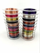 Accguan 20 Pieces 0.3 mm Colourful Jewellery Beading Wire Bare Copper Wire Rolls for Crafting Beading Jewellery Making