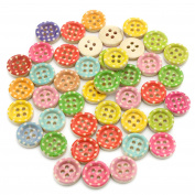 24pcs 13mm Mixed Colours Polka Dot Round Flat Back 4 hole Buttons Sew On Clothes Garment DIY Scrapbooking Handmade