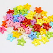 50pcs 12mm Mixed Colours Star Flat Back 2 hole Buttons Sew On Clothes Garment DIY Scrapbooking Handmade