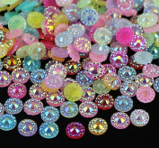 280pcs 5mm Small Mixed Colours Flower Round Resin Embellishments Rhinestone Flat Back Beads Scrapbooking Craft For Phone Wedding Decor DIY