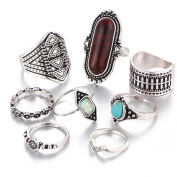 8PCS Full Finger Ring Sets For Women Knuckle Ring Set