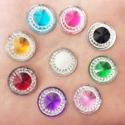 25pcs 14mm Assorted Colours Resin Round Cabochon Gem Embellishments Rhinestone Flat Back Scrapbooking Craft For Phone Wedding Decor DIY