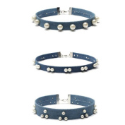 Short Imitation Pearls Blue Necklace Collar Denim Choker Necklace Sets